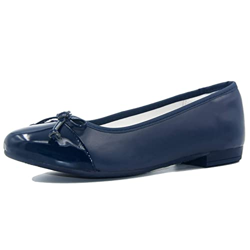 27f9731a830c Knixmax Women s Closed Toe Ballet Flats Leather Ballerina Pumps Office Work  Shoes