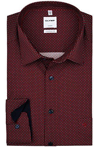 OLYMP Luxor Comfort Fit Hemd Langarm   Muster rot   New Kent Größe 44