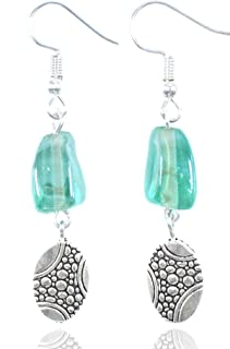 Aashya Mayro Handmade Glossy Shiny Light Green Color Stone, Metal Silver Bead Drop, Silver Plated Earrings For Party, Beac...