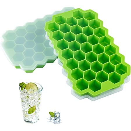 2 PCS Premium Ice Cube Trays, AUSSUA Silicone Ice Cube Molds with Sealing Lid, 74-Ice Trays, Reusable, Safe Hexagonal Ice Cube Molds, for Chilled Drinks, Whiskey, Cocktail, Food