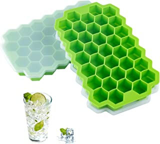 2 PCS Premium Ice Cube Trays, AUSSUA Silicone Ice Cube Molds with Sealing Lid, 74-Ice Trays, Reusable, Safe Hexagonal Ice ...