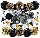Decoraciones de fiesta negras y doradas, 20 piezas banderas de triángulo, ventiladores de papel para colgar para cumpleaños, aniversario, decoración de fiesta de Halloween