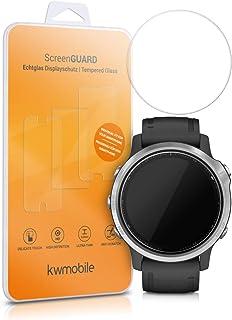 kwmobile 2X Protector de Pantalla de Vidrio Compatible con Garmin Fenix 6S (42mm)- Pulsera Fitness Vidrio lámina Transparente