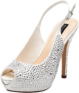 Women High Heel Peep Toe Rhinestones Slingback Platform Pumps Wedding Evening Dress Shoes