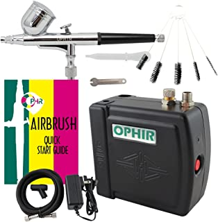 OPHIR Portable Mini Airbrush Air Compressor Kit Dual Action Airbrush Set with Cleaning Brush Tool Adjustable Air Brush Spray Gun for Hobby Model Crafts (Black)