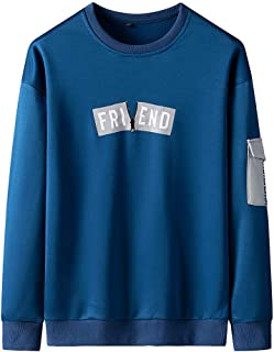 Men's Sweatshirts WINJUD New Jumpers Printing Patchwork Blouse O-Neck Shirts Long Sleeves Sport Top(B Blue,4XL)