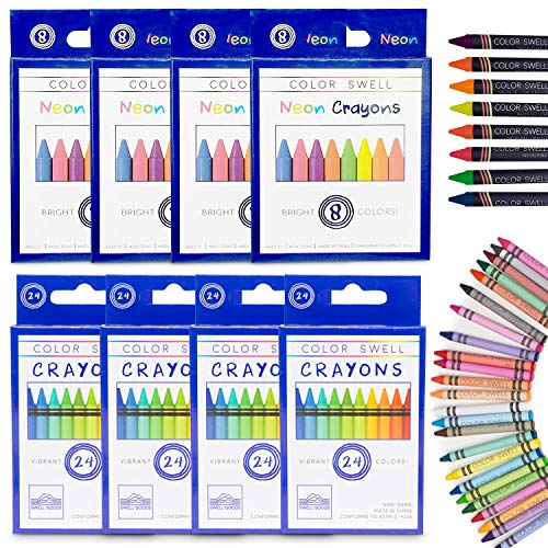Color Swell Regular and Neon Crayon Bulk Packs - 4 Boxes of Fun Neon Crayons and 4 Boxes of Colorful Regular Crayons of Teacher Quality Durable Classroom Packs for Kids Students Party Favors