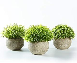 Jobary Set de 3 Plantas Artificiales con Césped Verde en
