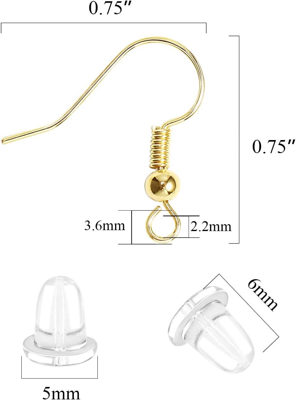Earring Hooks 14K Gold Plated Hypoallergenic Ear Wires for Jewelry Making (200 PCS Earring Hooks+200 PCS Earring Backs)