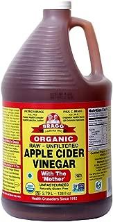 Organic Raw Apple Cider Vinegar Unfiltered Bragg 1 Gal (128oz) Liquid
