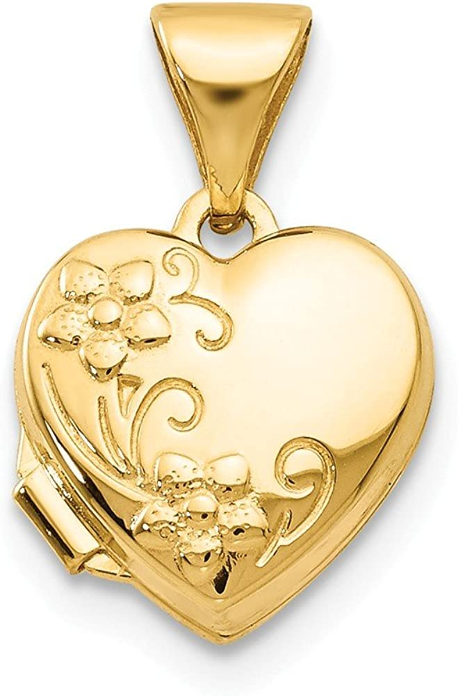 14k Yellow Gold Floral Heart Photo Pendant Charm Locket Chain Necklace That Holds Pictures Fine Jewelry For Women Gifts For Her