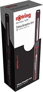 rOtring 1904754 0.40 mm Tikky Graphic Fibre Tip Pen - Black (Pack of 12)