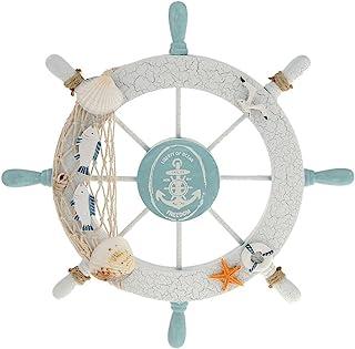 Rienar Nautical Beach Wooden Boat Ship Steering Wheel Fishing Net Shell Home Wall Decor..