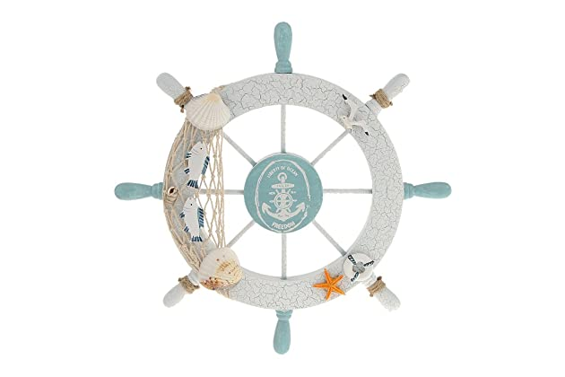 Rienar Nautical Beach Wooden Boat Ship Steering Wheel Fishing Net Shell Home Wall Decor White