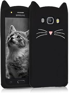 kwmobile Funda Compatible con Samsung Galaxy J5 (2016) DUOS - Carcasa de Silicona y con Gato - Cover Trasero de móvil