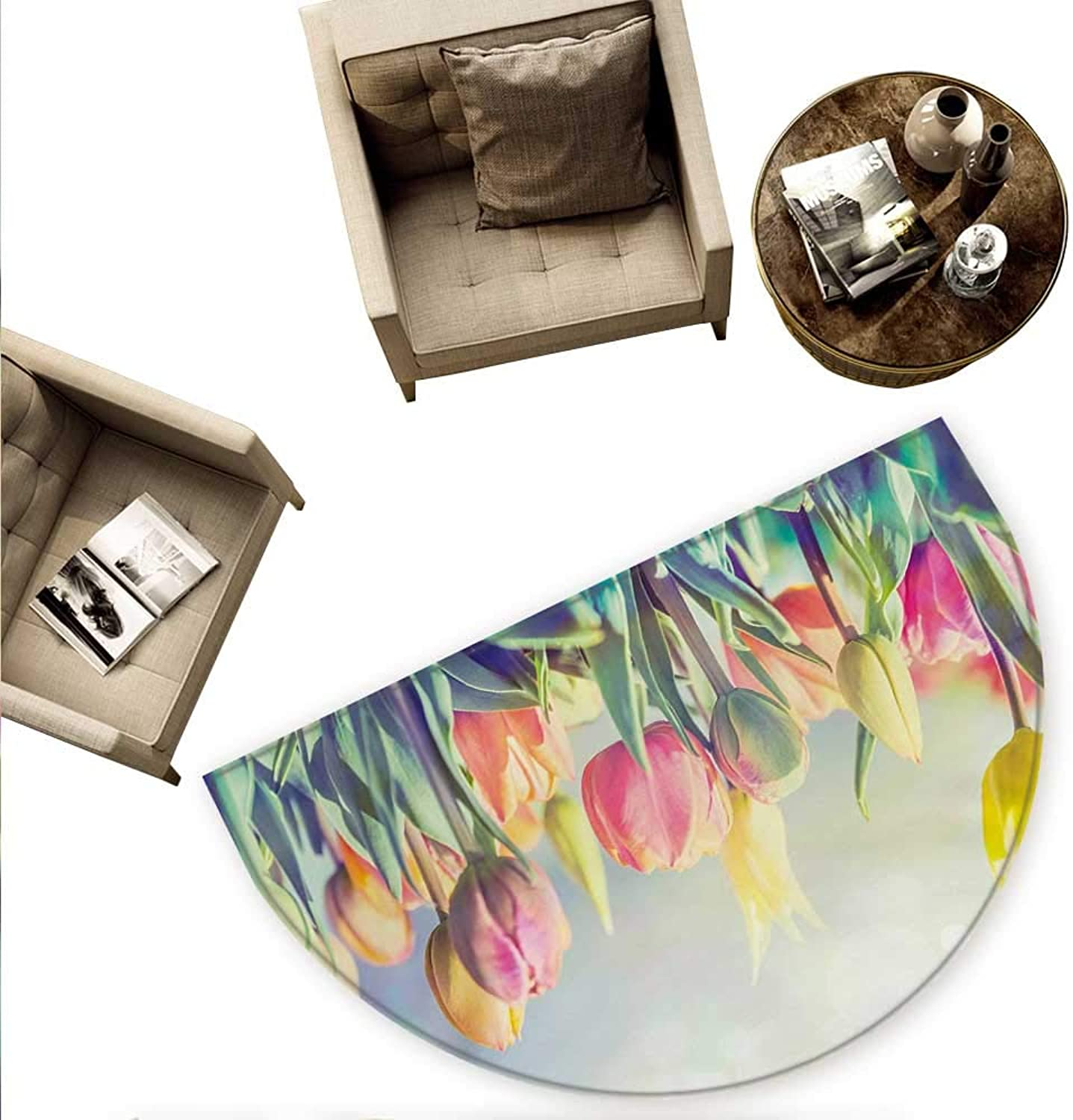 Pastel Semicircular Cushion Tulips Flower Bed in Park Serene Landscape Happiness Fresh Spring Environment Image Entry Door Mat H 78.7  xD 118.1  Multicolor