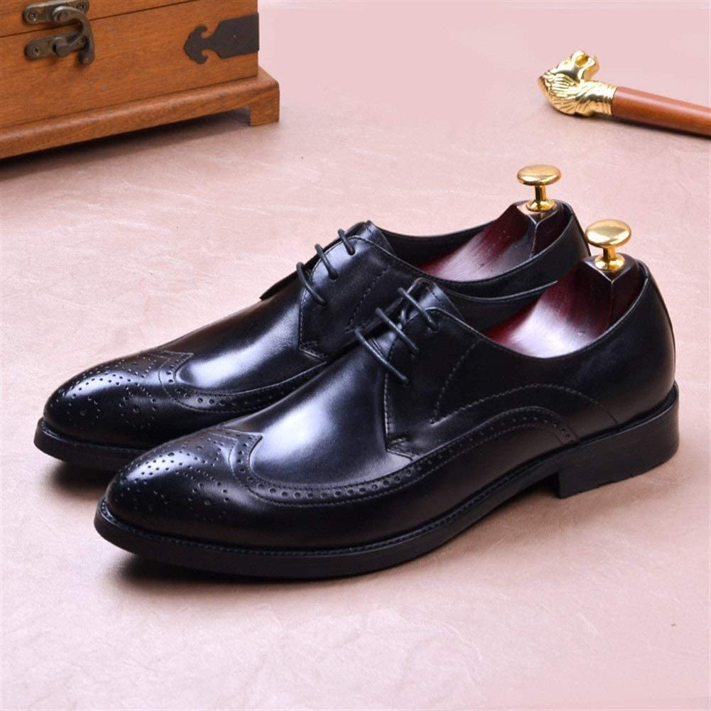 tac/ón de Bloque Rui Landed Zapatos de Cuero Genuino para Hombre Oxford de ca/ña Baja con Cordones Estilo Tallado Punta de ala Puntiaguda Colores s/ólidos