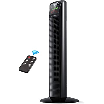 TaoTronics Oscillating Tower Floor Fan with Remote, LED Display, 9 Modes