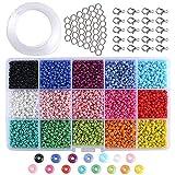 Cuentas de Cristal ETSAMOR Abalorios para Hacer Pulseras Collares Cuentas de Colores 3 mm Mini Cuentas para Hacer Joyas DIY Regalo Cadena (15 Colores)