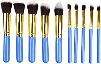 STELLAIRE CHERN Makeup Brushes 10 Piece Makeup Brush Set Premium Synthetic Foundation Blending Brush Face Powder Blush Concealers Eye Shadows Make Up Brushes Kit - Blue