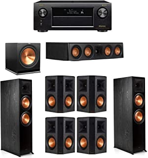 Klipsch 7.1 System with 2 RP-8000F Floorstanding Speakers, 1 Klipsch RP-404C Center Speaker, 4 Klipsch RP-502S Surround Speakers, 1 Klipsch R-115SW Subwoofer, 1 Denon AVR-X4400H A/V Receiver