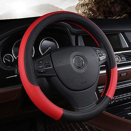 Mikrofaser Leder Lenkradbezug Wavy Line Splice X Stichmuster Schwarz Rot Auto
