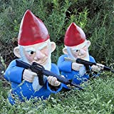 Outdoor Statues Outdoors Lawn Patio Yard Garden War Gnome - Halloween Gnomes Decor Statue, Funny Garden Gnomes Figurines, Resin Cartoon Sculpture Ornament, Best Art Décor,Great Gift (Sniper)