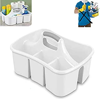 Bath Kitchen Divided Compartment Caddy Storage Sink Organizer Janitors Bucket Soap Cleaning Brush Sponge Bottle Holder Shower Basket Supplies Cabinet Container - 17 3/4