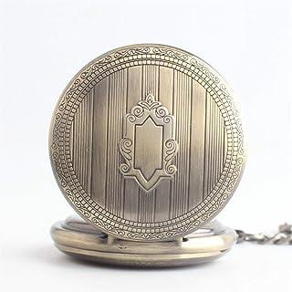 XJJZS Montre de poche à quartz vintage avec chiffres et chiffres romains avec chaîne