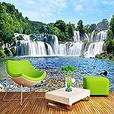 Papel tapiz fotográfico personalizado 3D sala de estar moderna sofá TV papel tapiz de fondo cascada agua corriente 3D paisaje Mural papel tapiz