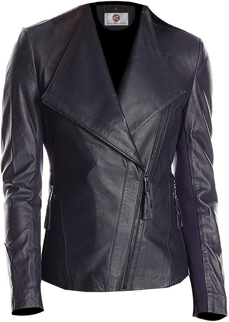 Faam Collection Elegant Lush Black Lambskin Leather Jacket for Women