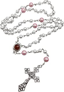 Nazareth Store White Pearl Rosary Beads Necklace Holy Soil Medal Cross Crucifix With Purple Mystery Beads