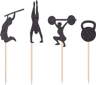 24 PCS Black Glitter Gym Theme Cupcake Toppers Workout Gymnastics Party Picks