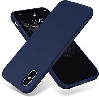 for iPhone X Case, OTOFLY [Silky and Soft Touch Series] Premium Soft Silicone Rubber Full-Body Protective Bumper Case Compatible with Apple iPhone X XS(ONLY) - (Midnight Blue)