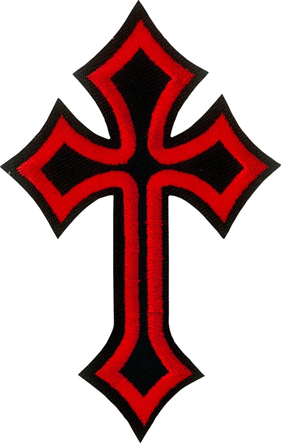 Red & Black Cross - Cut Out Embroidered Iron On or Sew On Patch