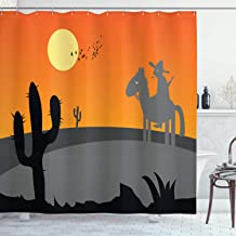 Ambesonne Southwestern Shower Curtain, Cartoon Style Hot Mexico Desert Landscape with Saguaro Cactus and Horse Rider, Cloth Fabric Bathroom Decor Set with Hooks, 75