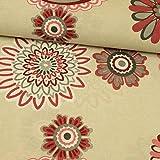 Stoffe Werning Dekostoff Altrosa Blumen - Mandala Natur