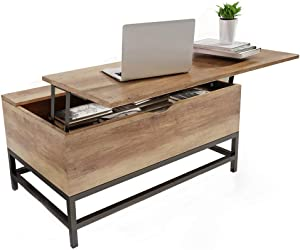 Happy Home Table basse avec plateau de rangement avec rangement 2 compartiments de rangement cachés