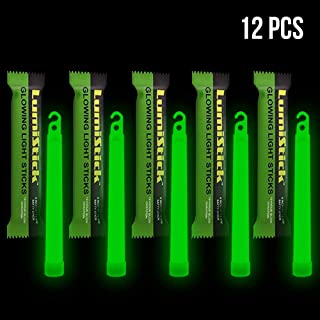 Lumistick 6 Inch Glowstick Rods - Individually Packed Emergency Light Stick - 12 Hour High Intensity Glow Lights (Green, 12)