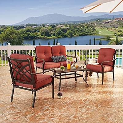 LOKATSE HOME 4-Piece Patio Cushioned Furniture Outdoor Bistro Conversation Set with 1 Loveseat, 2 Single Sofa Chairs, 1 Coffee Table, Red