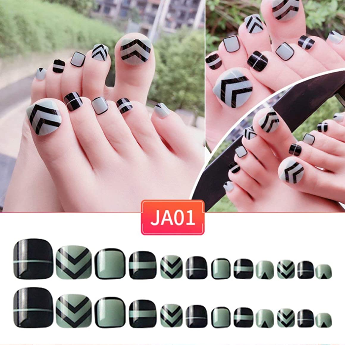 足ネイルステッカーアクリル偽足ネイル偽のネイルアートの指の爪フルヒットソリッドネイルパッチのステッカー