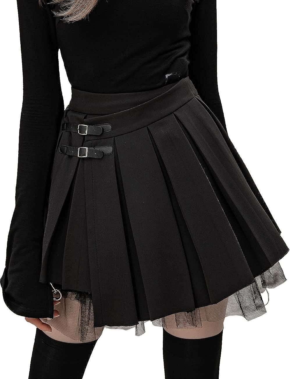 Punk Rave Women High Waist Multi-Layer Pleated Half Skirt PU Buckle Lotus Edge Irregular Hem Mini Skirt
