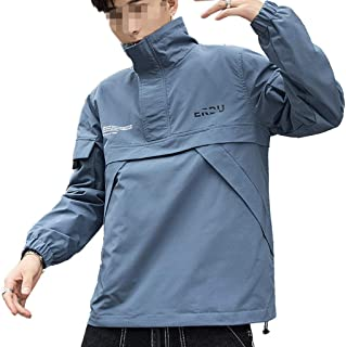 Functional wind jacket, spring and autumn student pullover loose stand collar casual men's jacket pullover sweater coa