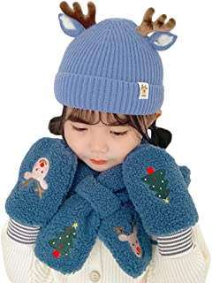 PUNELE Boże Narodzenie dziecięca czapka szalik rękawiczki zestaw zima ciepła gruba czapka z dzianiny beanie czapka polarow...