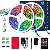 LED Strip Lights, 32.8ft/10M 3528 SMD RGB Rope Lights Kits Music Sync Color Changing Rope Lights 600 SMD, IR Remote Controller Flexible Strip for TV, Bedroom, Party and Home Decoration