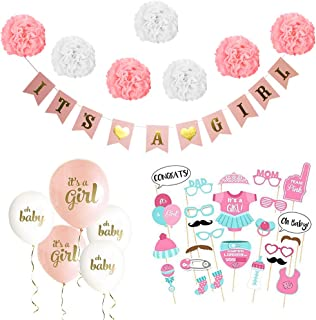 Baby Shower Decorations for Girl Kit - Party Supplies Includes It's a Girl Hanging Banner, 25PCS Cute Photo Booth Props, Pink & White Tissue Paper Pom Poms, Balloons for Baby Shower Nursery Room Decor