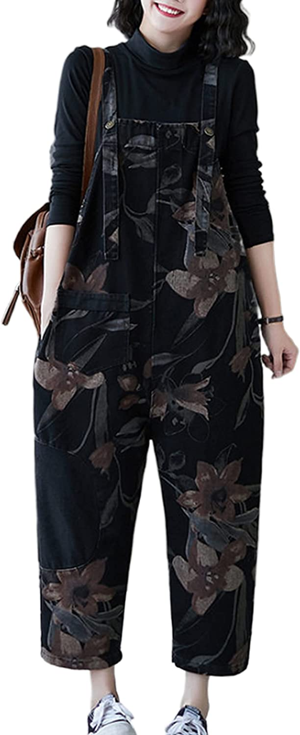 Lentta Women's Retro Print Baggy Fit Mail order D Strap Wide Adjustable Leg Courier shipping free shipping