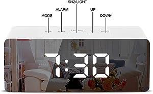 TWFRIC Despertador Digital, LED Reloj Despertadors Digitales, Alarmas Dual, Función Snooze, 2 Brillo Ajustableluz Nocturna, Temperatura Función Despertador, para Dormitorio, Cocina, Oficina(Blanco)