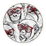 Juego de 6 posavasos redondos de 4.3 pulgadas, juego de 6 posavasos para tipos de tazas y tazas (juego de 6), divertidos vasos de gorila de mono Patern