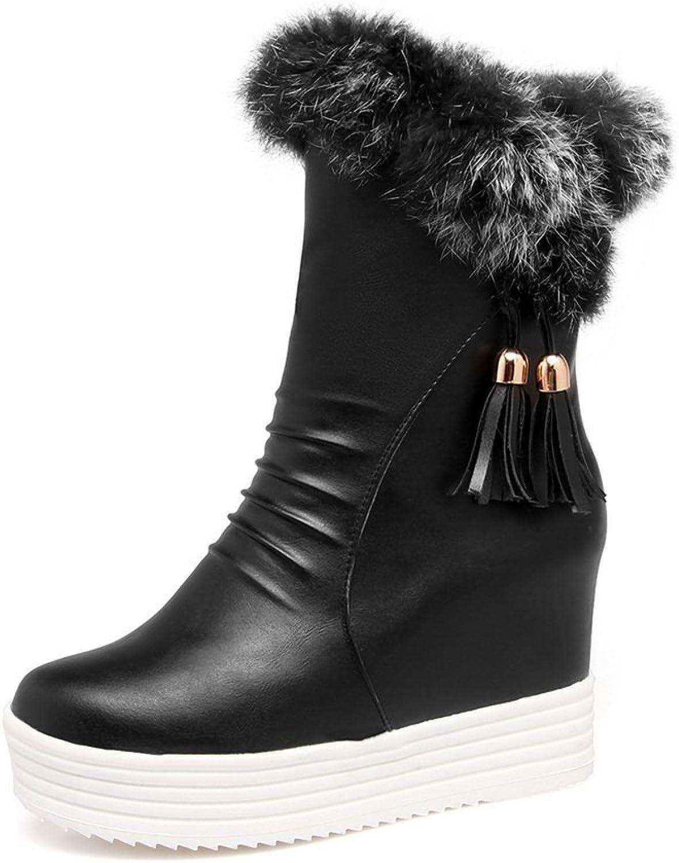 BalaMasa Womens Cold-Weather Zipper Tassels Comfort Faux-Fur Boots